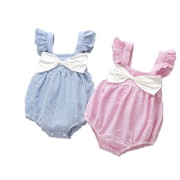 Wholesale bodysuit boy kids - Summer Striped Baby Girls Clothes Sleeveless Cotton Boy and Girls Bodysuit with Bow Kids Clothing Free Shippment