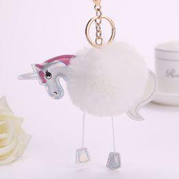Wholesale Unicorn Blue - Newest Unicorn Key Chain Pendant Women Artificial Fluffy Fur Keyring Bag Car Hang Jewelry Girl Key Ring Women Keychain