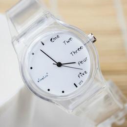 Wholesale Transparent Glass Wrist Watch - 2017 New Fashion Dress Watches Women's Simple Transparent Band Quartz Wrist Watch Clock Hours Saat