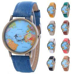Wholesale Wholesale Fashion Watches For Women - Wholesale New women leather world map watch fashion plane printing ladies cowboy dress quartz wrist watches for women ladies