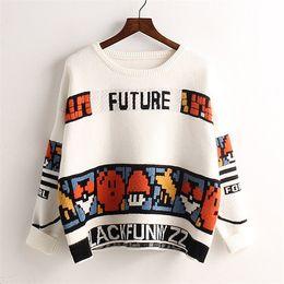 Wholesale knit sweater patterns women - Wholesale- Women In 2015 The Korean Version Of East Gate Of Fashion Cartoon Mosaic Pattern Geometry Loose Sweater Girl 1011 1126