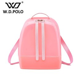 Wholesale Black Leather Sling - Wholesale- W.D POLO New Silicon shinning leather women backpack sling lady chic essentials hand bags summer jelly candy color bag M1788