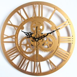 Wholesale Gear Decor - Wholesale- Modern Home Decor Large Wall Clock 3D Retro Clock Europe Style Gear Wall Clock Art Watch