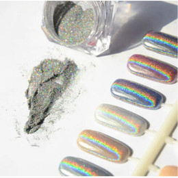 Wholesale Nail Glitters Wholesale - 1g Laser Silver Holographic Nails Glitters Powder DIY Nail Art Sequins Chrome Pigment Dust Shiny Magic Laser Mirror Powder Nails