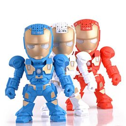 Wholesale c arm - C-89 Bluetooth Mini Speaker Iron Man With LED Flash Light Arm Figure Robot C89 Portable Mini Wireless Subwoofers TF FM USB Card