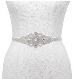Wholesale Man Rhinestone Belt - Satin Sash with Linear Beaded Design Rhinestones Belt For Wedding Bridal Bridesmaid Evening Dress,Silver
