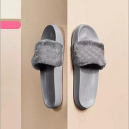 Wholesale Best Adhesives - Leadcat Fenty Rihanna Shoes Women Slippers Indoor Sandals Girls Fashion Scuffs Pink Black White Grey Fur Slides Without Box Best Quality
