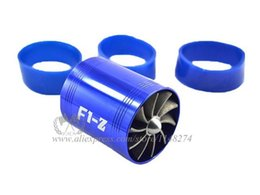 Wholesale Air Propeller - Free Shipping Universal Fit F1-Z Double Propeller Turbonater Air Intake Fuel Saver Turbo Fan stocked and ready to ship