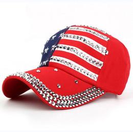 Wholesale Black Sun Flag - Designer Baseball Caps Hats Summer American Flag Hiphop Hat Fashion Rhinestone Cap Snapback Ball Hat Leisure Sun Hat