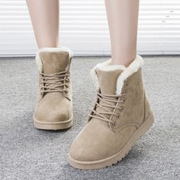 Wholesale Ankle Bootie Shoes - Suede Snow Boots Lace-Up Bootie Super Thick Antificial Short Plush Lining Boot Women Winter Shoes Round Toe Waterproof Flat Heel Ankle Boots