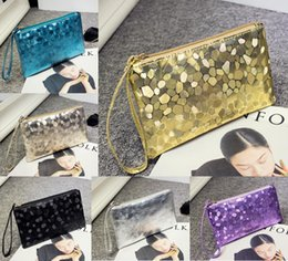 Wholesale Cosmetic Bag Pockets Patterns - Ladies Leather Crocodile Pattern Clutch Handbags Designer Sequins Makeup Cosmetic Bag Fashion Women Phone Coin Purse Wallet
