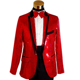Wholesale Xl Gold Sequin Top - ON SALE Top Quality Plus Size Mens Gold Blue White Red Sequins Tuxedo Suit Wedding Stage Performance Blazers Pant Suit