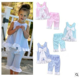 Wholesale Ruffle Girls Shirt - Girls Clothing Sets INS Baby Kids Clothes Ruffled Bow Tops Pants Suits Baby Grid Shirts Shorts Girl Summer Fashion Petal Outfits 2017 J453