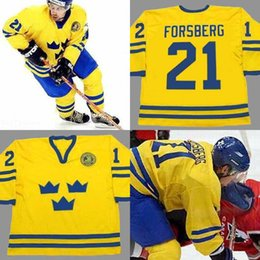 Wholesale free peter - 21 PETER FORSBERG Team Sweden Throwback Hockey Jersey Men Stitched Throwback Jerseys Gold Size S-5XL Free Shipping