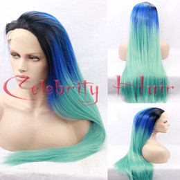 Wholesale Blue Straight Wigs - black blue green three tone synthetic lace front wig silky straight turquoise ombre lace front wig Heat Resistant Synthetic Hair