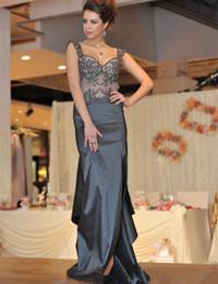 8e1a707fa 8 Fotos Compra Online Vestido gris largo con cuentas-Sexy Sheer Long Grey  vestidos de noche Backless