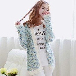 Wholesale Long Mohair Cardigan - Wholesale- Autumn and winter student Pastoral wind floral flowers line mohair cardigan sweater female long sections loose sweater coat