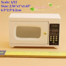 Wholesale Wooden Doll Kitchen - 1 12 Miniatures Microwave Wood White for Dollhouses Doll House Kitchen Accessory