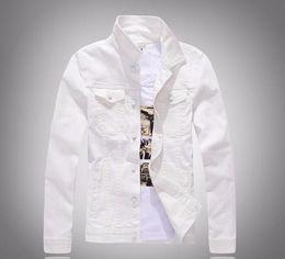 Wholesale Korean Jacket Clothing Men - New Korean Solid Color Slim Fit Long Sleeve Men's Casual White Denim Jacket Man Coat Windbreaker Brand Clothing Outerwear white