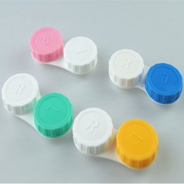 Wholesale price contacts - Free shipping Lowest Price 5000 pcs(2500pairs) Contact Lens Case lovely Colorful Dual Box Double Case Lens storage Case