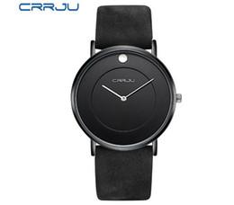 Wholesale Super Slim Watches - Super slim Quartz Casual Wristwatch Business CRRJU Top Brand Genuine Leather Analog Sports Watch 1pcs free shipping