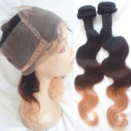 Wholesale 2pcs Bundles Closure - T1b 4 27 Ombre 3 Tone Indian Virgin Hair Bundles With 360 Lace Frontal Body Wave 2pcs Human Hair Weaves And 360 Closure