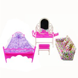 Wholesale Doll House Sofa - 3 Items Lot Doll Furniture Doll Bed+Dressing Table+Flower Cloth Sofa For Barbie Dolls Girl Gift Kid Play House Toy