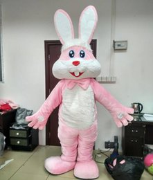 Wholesale Bunny Pink Costume - free shipping with one mini fan inside the head furry pink bunny rabbit mascot costumes for adult for easter holiday