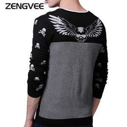 Wholesale Mens Wholesale Sweater - Wholesale- 2017 Spring New Fashion Sweater Men Quality Brand British Style Slim Snowflake Tigers Embroidery Pullover Mens Sweaters Blusas