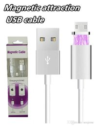 Wholesale Led Iphone Sync Charger Cable - Magnetic Charger Cable 1M Quick Charging LED Lighting Metal Micro USB Sync Cable Cablel for Samsung Galaxy s7 s7edge Andriod Phone