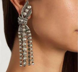 Wholesale Earrings Vintage Flower Drop - Female Fashion Brand Crystal Dangle Set Auger Earrings Charm Flower Pattern Pearl Long Vintage Drop Earring For Women Wedding Party Jewelry