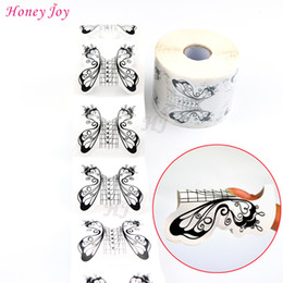 Wholesale Wholesale Butterfly Nail Forms - Wholesale- 500pcs roll Professional Butterfly Nail Form Tips Nail Art Guide Form Acrylic Tip Gel Extension Sticker Nail Polish Curl Form