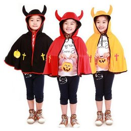 Wholesale Cheap Devil Costumes - Cheap Halloween Children Cloak cosplay Boy and Girl horns devil shawl cloak makeup show costumes Stock With Fast delivery