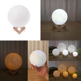 Wholesale Original Desktops - 100% Original Rechange 3D Print Moon Light 2 colors change Touch Switch Creative desktop lamp energy saving night light with Wooden Stand