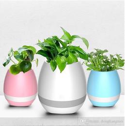 2019 vaso da giardinaggio Mini vasi da fiori da giardino Night Light Smart Touch Fioriere Vasi Lampada ricaricabile Bluetooth senza fili Planter Miglior regalo per bambini wn252 vaso da giardinaggio economici