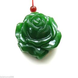 Jade aumentou colares on-line-100% Natural Nephrite Hetian Jade Lifelike Rose Jade colar de pingente