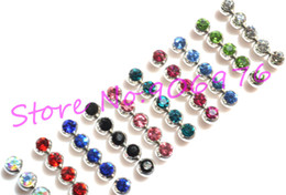 Wholesale Body Piercing Accessories - New Eyebrow Ring Tongue Bar Lip Stud Ball Gem Fashion Body Piercing Jewelry Piercing Accessory 1 .6 *6mm 1 .2 *3mm Free Shipping
