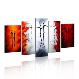 Wholesale Couple Painting Canvas - 5-Piece 100% Hand-Painted Oil Paintings Panels Stretched Framed Ready Hang Dancer Lover Couple Modern Abstract Canvas Living Room Bedroom O