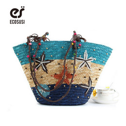 Wholesale Large Straw Beach Tote Bags - Wholesale-Hot Sale Straw Bag Fashion Women Shoulder Large Capacity Beach Bag Women Grass Handbag Durable Ladies Tote Ocean Women Bags