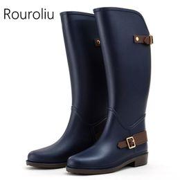 Wholesale Tall Waterproof Boots Women - New Arrivals Women Fashion Flat Heels Knee-high Rain Boots Non Slip Tall Buckle Rainboots Waterproof Water Shoes Wellies ZM13