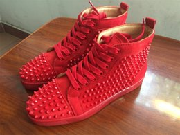 Wholesale Womens Massage Shoes - Luxury Spikes Loubs Brand Sneaker Shoes Mens Womens Red Bottom Sneakers Genuine Leather Suede Flat With Outdoor Walking Party Shoe Chaussure