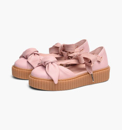 Wholesale Casual Nude Color Shoes - New style X Fenty Women sandals size 36-40 summer bowtie slippers slides pink brown beige color sports shoes free shipping