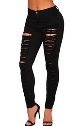 Wholesale Sexy Destroyed Jeans - Wholesale- 2016 New Summer Women's Sexy White Denim Destroyed High-waist Skinny Jeans GYLC78646