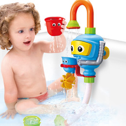 Wholesale Free Shipping Bathroom Sets - Baby shower toy turn creative water spray shower faucet bathroom divers children's puzzle water toys free shipping