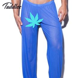 Wholesale Men See Pants - Wholesale-Hot! Mens Sheer panties Sexy mesh Pants See-Through Men Sleep Pants Mens Sleep Long Bottoms Brand Casual sleepwear pajama penis