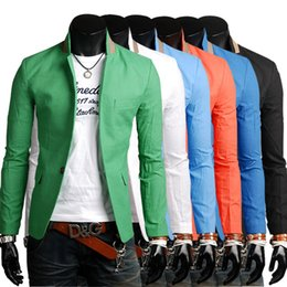 Wholesale Blazers Coat Jacket Men - Wholesale- 2016 New Designer Mens casual Blazer Slim Fit Coats Stylish Blazers Men Jacket M-3XL 6 Colors Terno Masculino HY829
