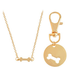 Wholesale Girls Christmas Gift Ideas - 2017 new good friend friendship Collarbone chain necklace for girls Dog bone fashion idea hang Pendant Necklaces statement Jewelry wholesale