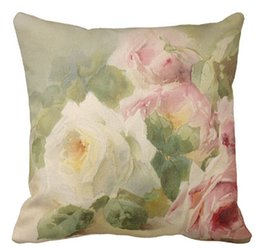 Wholesale Pink Roses Pillow Cases - Throw Pillow Case, Vintage Victorian Rose Watercolor Square Sofa and Car Cushions Cover (16inch,18inch,20inch)