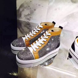 Wholesale Strass Crystal Shoes - Brand Design Red Bottom High Quality Genuine Leather Gray Rhinestone Crystal Strass Men High Top Brand Shoes Men Women Fashion Casual Flats