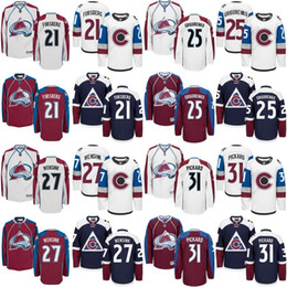 Wholesale Peter Forsberg Jersey - 2016 men Colorado Avalanche 21 Peter Forsberg 25 Mikhail Grigorenko 27 Andreas Martinsen 31 Pickard Ice Hockey Jerseys stitched